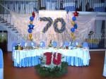 украшение юбилея шарами, тканью и цветами