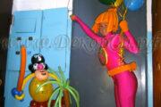 Доставка и вручение подарка из воздушных шаров ростовой куклой